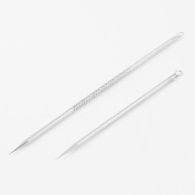 uxcell Facial Beauty Set Blackhead Extractor Acne Remover Needle 2 Pcs Silver Tone