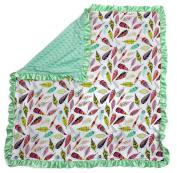 Dear Baby Gear Baby Blankets, Bright Feathers on White, Mint Green Minky