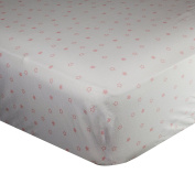 Spark Comfort Tranquil Baby Premium 100% Organic Cotton Fitted Crib Sheet Sateen Weave White Pink Star
