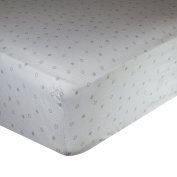 Spark Comfort Tranquil Baby Premium 100% Organic Cotton Fitted Crib Sheet Sateen Weave White Grey Star