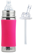Pura Kiki Stainless Steel 330ml Toddler Sippy Bottle with Pink Silicone Plus 1 Extra Silicone Straw