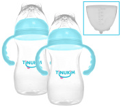 Tinukim Wide Mouth Baby Bottle with Handles – Anti-Colic Nursing System, 240 Millilitre