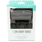 Oh Baby Bags Nappy Bag Clip-On Dispenser Gift Box with Disposable Bags for Dirty Nappies - Recycled Plastic - Stripe Duffle plus 48 Black Unscented Bags