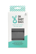 Oh Baby Bags Bulk Refill Box - Recycled Scented Disposable Plastic Bags - Refills Only - 8 Rolls, 96 Bags Total - Grey Unscented