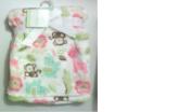 Printed Monkey Lion Girraffe Elephant Alligator on White Baby Blanket