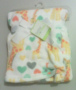 Printed Giraffle Love Heart White Baby Blanket