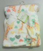 Printed Giraffle Love Heart White Baby Blanket