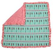 Dear Baby Gear Baby Blankets, Arrows on Mint Green, Pink Minky