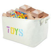 "Canvas Storage Bin 17x 13"" x 25cm large enough for Toy Storage - Storage Basket for organising Baby Toys, Kids Toys, Baby Clothing, Children Books, Gift Baskets."