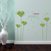 ChezMax Green Clover Self Adhensive Wall Decal Removable Decorative Wall Sticker 60cm x 90cm