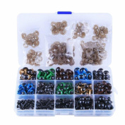BESTCYC 150Pcs 6/7/8/10/12mm 5 Sizes Black And Colourful Safety Eyes Set Plastic Safety Eyes Plastic Eyes with Washers for Doll, Puppet, Plush Animal