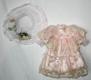 "Doll Pink Satain and Lace Dress with Hat, Collar W. 6 cm, Shoulder W. 10 cm, Sleeve L. 12 cm, Cuffs W. 4.5 cm, Bust W. 10 cm, Waist 12.5 cm, Overall L. 29 cm..,May Fit 18"" Doll"