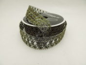 Gold and Green Metal Mesh Texture 2.5cm . 2.7m Decorative Ribbon - Perfect for Christmas!