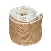 Jute Burlap Ribbon Roll with Small Pearl 6.1cm Width 2 Yards Long for Party Wedding Cake Holiday Craft Decoration
