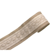 Jute Burlap Ribbon Roll with Pure Cotton Lace 5.1cm Width 2 Yards Long for Party Wedding Cake Holiday Craft Decoration