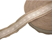 Jute Burlap Ribbon Roll with Pure Cotton Lace 5.1cm Width 5 Yards Long for Party Wedding Cake Holiday Craft Decoration