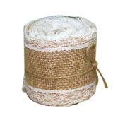 Jute Burlap Ribbon Roll with White Lace 6.1cm Width 2 Yards Long for Party Wedding Cake Holiday Craft Decoration