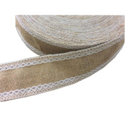Jute Burlap Ribbon Roll with White Lace 5.1cm Width 5 Yards Long for Party Wedding Cake Holiday Craft Decoration