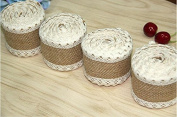 Jute Burlap Ribbon Roll with Pure Cotton Lace 6.1cm Width 2 Yards Long for Party Wedding Cake Holiday Craft Decoration