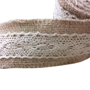 Natural Jute Burlap White Ribbon Rolls 5.1cm Width 5 Yards Long for Party Wedding Cake Holiday Craft Decoration