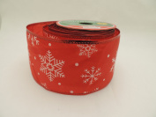 Red with White Snowflake Ribbon 6.4cm X 2.7m Wire-edged Ribbon - Perfect for Holidays!
