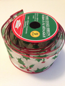 Christmas Holly and Berry Design with Red Metallic Trim 6.4cm . x 2.7m Wire Edged Ribbon - Great for the Christmas Season!
