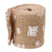 TTnight 5m/Roll Lace Handmade Jute Belt Burlap Band with Snowfla for Craft Rustic Wedding Christmas Birthday Party Festival DIY