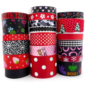 Smart Buy Grosgrain Ribbon for Craft Cartoon Black and Red Theme Mixed Colours 20 Yards Contains 20 Different 1 Yard Ribbon