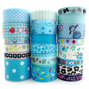 Smart Buy Grosgrain Ribbon for Craft Cartoon Blue Theme Mixed Colours 20 Yards Contains 20 Different 1 Yard Ribbon