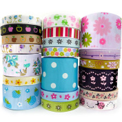 Smart Buy Grosgrain Ribbon for Craft Flower Cartoon Theme Mixed Colours 20 Yards Contains 20 Different 1 Yard Ribbon