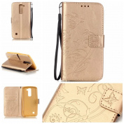 LG Stylo 2 Case,, ARSUE Premium Vintage Emboss Butterfly Flower PU Leather Wallet Case with Card Slots & Stand Flip Cover for LG LS775/ LG Stylus 2 Case,