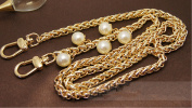 Metal 5 Artificial pearl Pendant shape Chain 23 inch Long Golden Replacement Purse Chains strap for Handbag Bag Wallet width 8mm
