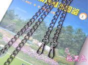 Metal Big Circuit shape Chain 47 inch Long black Replacement Purse Chains strap for Handbag Bag Wallet width 10mm