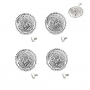 1 Set of Silver Bright 2.5cm Round Conchos W/ 0.6cm Chicago Screw back