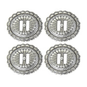 Set of 4 Western Saddle Bright Silver Antiqued Slotted Concho 1-7/8″ Leather Craft
