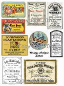 Assorted Vintage Ephemera #103 Vintage Label Images on Collage Sheet for Photo Art, Scrapbooking, Collage, Decoupage