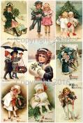 Victorian Vintage Children # 104 Christmas Card Collage Sheet 22cm x 28cm