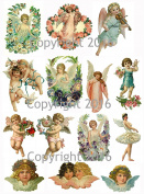 Victorian Vintage Angels and Cupids Collage Sheet 22cm x 28cm