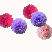 12pcs 25cm Baby Shower Assorted Tissue Pom Poms for Wall Window Paper Pompom Flowers Housewarming Party Supplies Birthday Backdrop Decoration Pink Purple Hot Pink