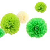 12pcs 20cm 30cm Birthday Tissue Diy Paper Flower Pom Poms Kit Cream Lime Green Ball Theme Party Indoor Wedding Baby Shower Nursery Room Hanging Decorations