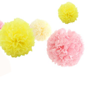 12pcs 20cm 30cm Wedding Pom Pom Decorations Diy Tissue Paper Flowers Kit Cream Yellow Pink Nursery Room Birthday Baby Shower Bridal Shower Kids Party Supplies