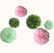 12pcs 20cm 30cm Wedding Hanging Tissue Paper Flower Pom Poms Pink Light Dark Green Bridal Baby Shower Childrens Party Birthday Home Window Wall Decorations
