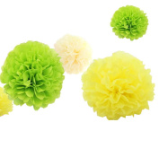 12pcs 20cm 30cm Baby Shower Tissue Pom Poms Flower Party Decorations Rustic Wedding Supply Birthday Celebration Nursery Room Decor Cream Yellow Lime Green