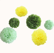 12pcs 20cm 30cm Bridal Shower Hanging Tissue Paper Flowers Pom Poms Birthday Graduation Party Supplies Wedding Decorations Yellow Light Dark Green