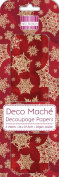 Red Snowflake Xmas Deco Mache x 3 Tissue Patch Paper Sheet First Edition Craft
