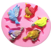 Design Chocolate Soap Mould Baking Cake Decoration Tool DIY 3D 5 Birds Silicone Mould Cake Moulds -OmenTech