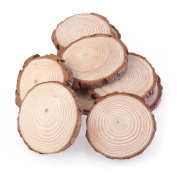 NUOLUX 10pcs 7-9CM Wood Log Slices Discs for DIY Crafts Wedding Centrepieces
