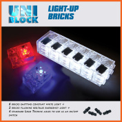 UniBlock Light-Up Bricks,Compatible With Major Brick Brands, on/off switch, 6 constant white lights and 2 red/blue emergency flashing lights