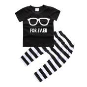 Newborn Baby Boys Girls Rabbits and Glasses Printed Short Sleeve Pants +Tops Outfits