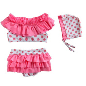 Jojobaby Little Girls Two-Pieces Polka Dots Swimsuits Swimwear with Hats
